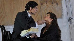 La soprano Patricia Racette, protagonista de Katia Kabanovay Francisco Vas, su esposo en la ópera, durante un ensayo en el Liceu.
