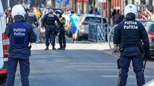 Imagen de archivo de agentes de la policía, en Bruselas.