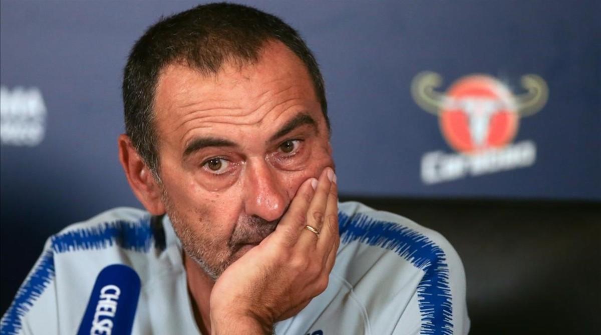 Maurizio Sarri, en la rueda de prensa del Chelsea previa a la Supercopa.