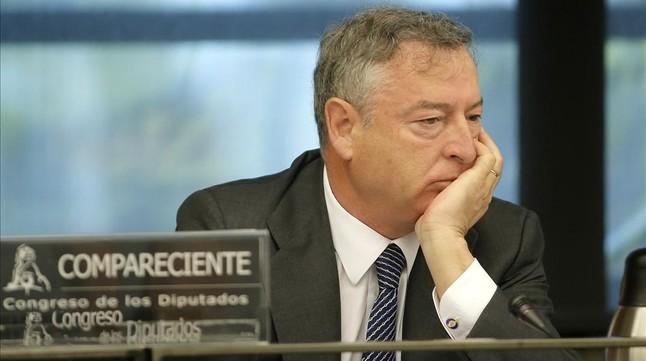 José Antonio Sánchez, presidente de RTVE, en la sesión de control de la corporació, en el Congreso.