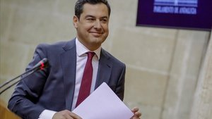 Juan Manuel Moreno, en una de las intervenciones durante la segunda jornada del debate de investidura.