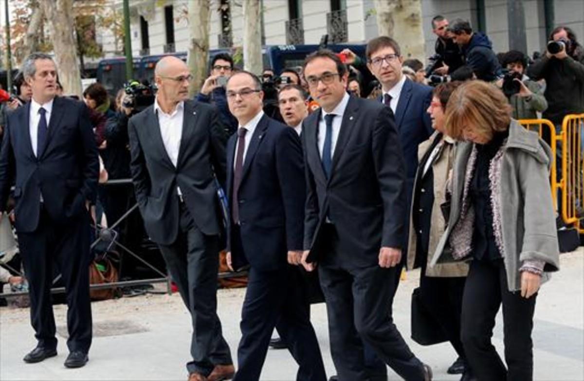 Los 'exconsellers', el día que fueron a declarar a la Audiencia Nacional.