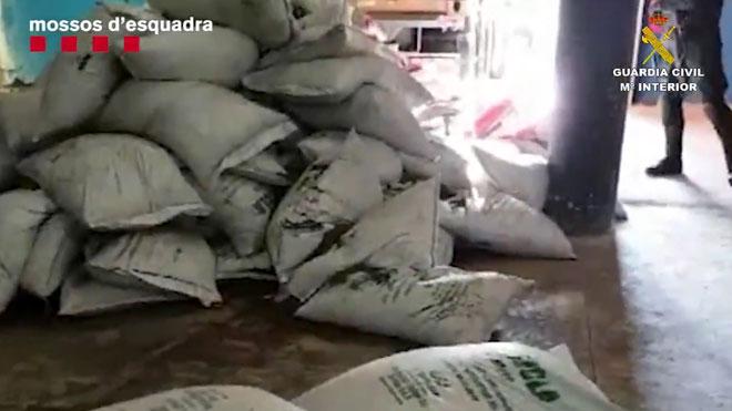 Los Mossos y la Guardia Civil intervienen más de 21 kilos de cocaína pura impregnada en abono orgánico.