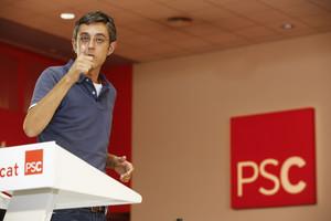 Eduardo Madina en un acte a la seu del PSC el 12 de juliol passat