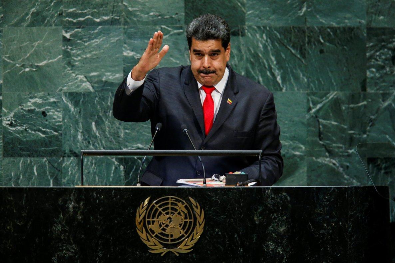 El presidente venezolano, Nicolás Maduro, ofreciendo un discurso en la ONU.
