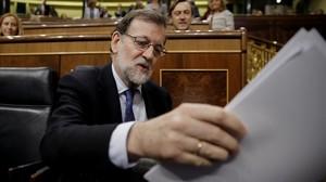 Mariano Rajoy en la sesión de control al Gobierno.