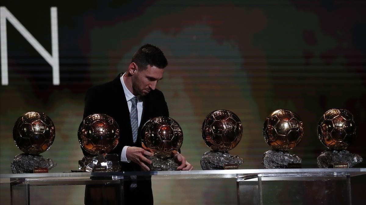 Messi con sus seis balones de oro.