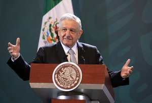 Mexico's President Andres Manuel Lopez Obrador speaks during a news conference in Mexico City, Mexico June 24, 2020. Mexico's Presidency/Handout via REUTERS ATTENTION EDITORS - THIS IMAGE HAS BEEN SUPPLIED BY A THIRD PARTY. NO RESALES. NO ARCHIVES