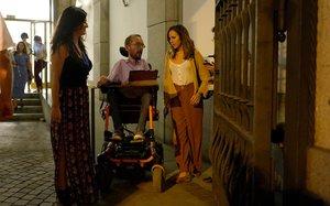 Pablo Echenique e Ione Belarra, tras la reunión, anoche, con Podemos.