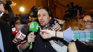 Pablo Iglesias, durante la presentación del candidato a la Comunidad de Madrid, el pasado 13 de abril.