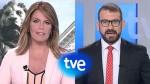 Pilar García Muñiz y Marc Sala, presentadores de la retransmisión del homenaje a las víctimas de los atentados del 17-A en TVE.