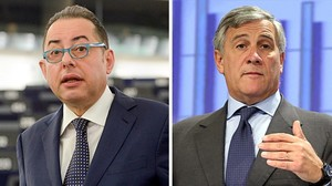 Dos de los candidatos a presidir la Eurocámara, el socialistaGianni Pitella (izquierda) y el conservador Antonio Tajani, ambos italianos.