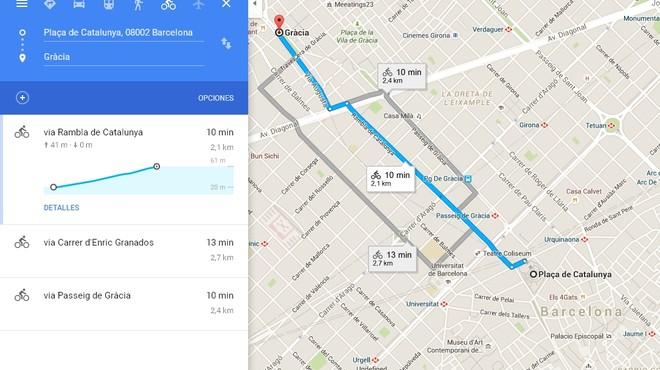 Google Maps mejora la opción de planificar rutas en bicicleta