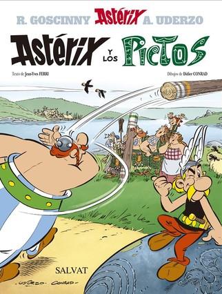 Portada del ejemplar en castellano de Astérix y los pictos, desvelado esta mañana en París.