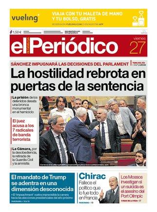 La portada de EL PERIÓDICO del viernes 27 de septiembre del 2019.