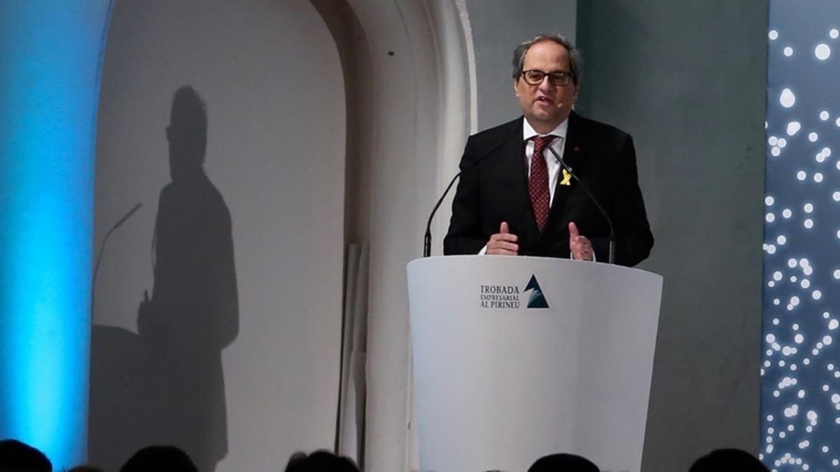 El president Quim Torra, este viernes, durante un encuentro empresarial en La Seu dUrgell.