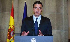 El presidente del Gobierno, Pedro Sánchez, durante la recepción de bienvenida celebrada con motivo de Fitur, ayer en Madrid.