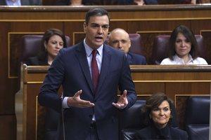 El presidente del Gobierno, Pedro Sánchez, en una sesión de control al Ejecutivo en el Congreso.