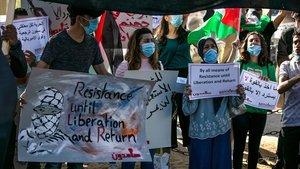 Protesta en Ramala contra los planes de Israel de anexionarse parte de Cisjordania, el pasado 1 de julio.