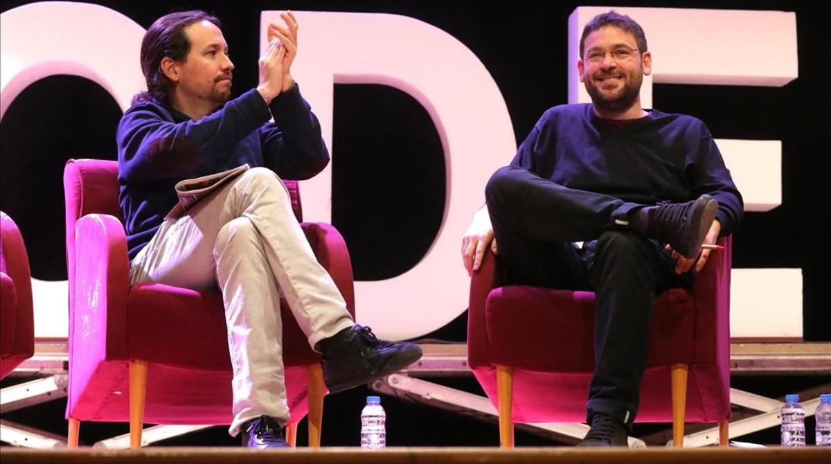 Pablo Iglesias y Albano Dante Fachin, en un acto en Sant Feliu de Llobregat.
