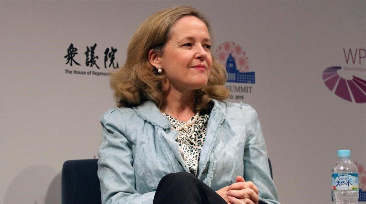 La ministra de Economía, Nadia Calviño, en un acto de la cumbre del G-20 en Japón.