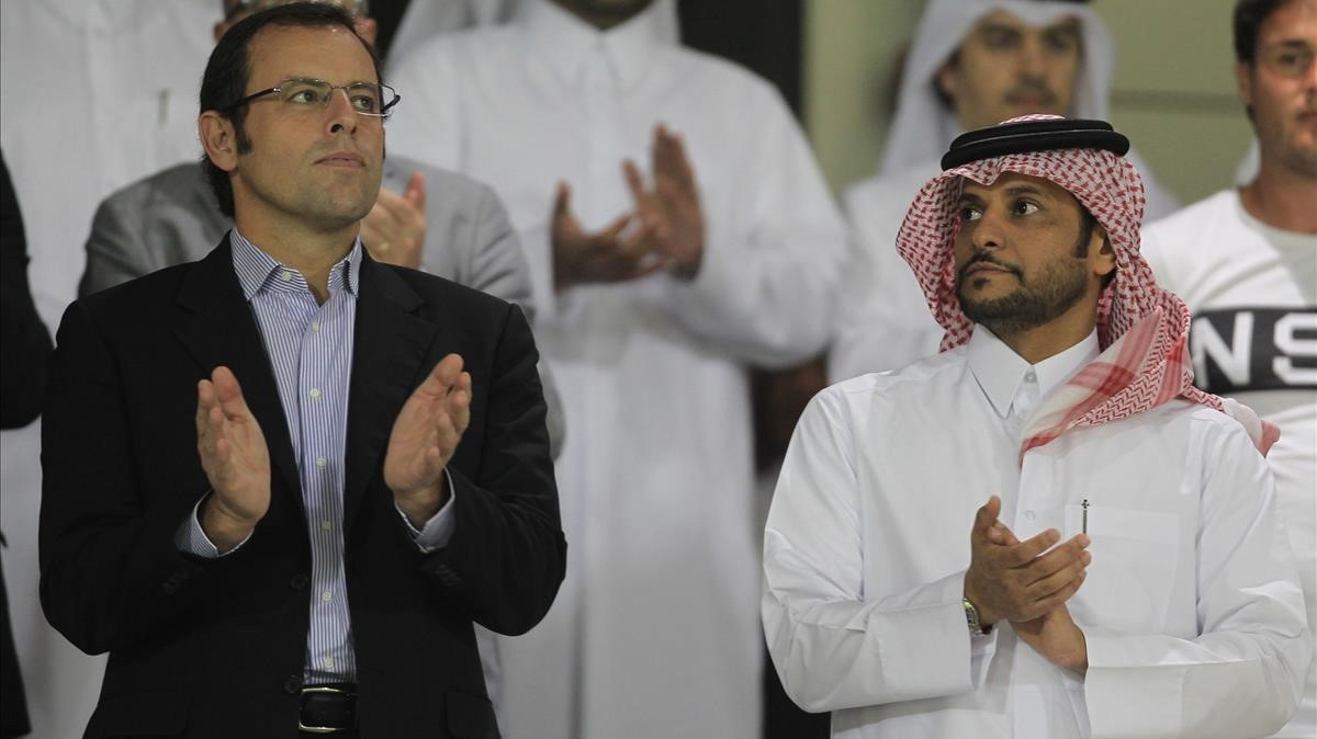 Rosell, en noviembre del 2011, con el jeque catarí Saud bin Abdul Rahman Al-Thani.
