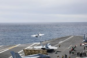 Ionian Sea (-), 06/05/2019.- A handout photo made available by the US Navy showing an F/A-18F Super Hornet from the Jolly Rogers of Strike Fighter Squadron (VFA) 103 launching off the flight deck of the Nimitz-class aircraft carrier USS Abraham Lincoln (CVN 72) to conduct a close air support exercise together with the US Air Force 603rd Air Control Squadron and the Lithuanian Air Force on 06 May 2019. The Abraham Lincoln Carrier Strike Group (ABECSG) is deployed to the US Central Command area of responsibility in order to defend American forces and interests in the region. Media reports on 13 May 2019 state that the United Arab Emirated (UAE) Foreign Office report that four commercial vessels have been targeted by sabotage operations near UAE territorial waters. (Lituania) EFE/EPA/US NAVY / DVIDS / HANDOUT HANDOUT EDITORIAL USE ONLY/NO SALES