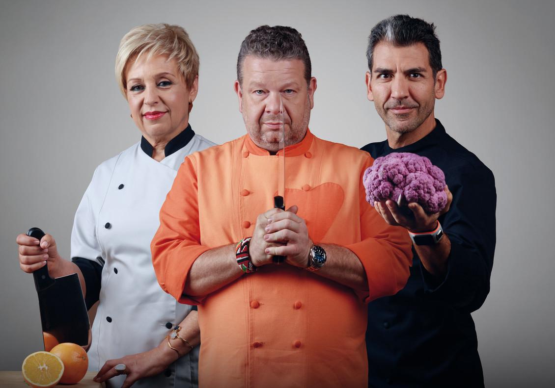 Susi Díaz, Alberto Chicote y Paco Roncero, jurado del concurso gastronómico de Antena 3 Top chef.