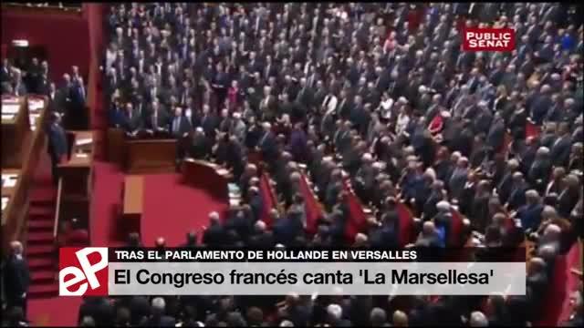 El congreso y el senadofrancés reunido en Versalles. canta la Marsellesa.
