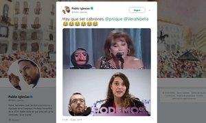 Tuit de Pablo Iglesias comparando a Echenique con Doña Rogelia.