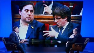 Junqueras, con Puigdemont de fondo (TV-3).