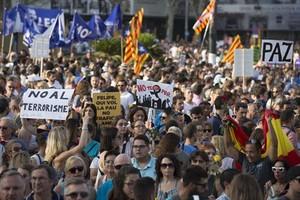 Una magen de la manifestación del sábado en Barcelona bajo el lema 'No tinc por'.