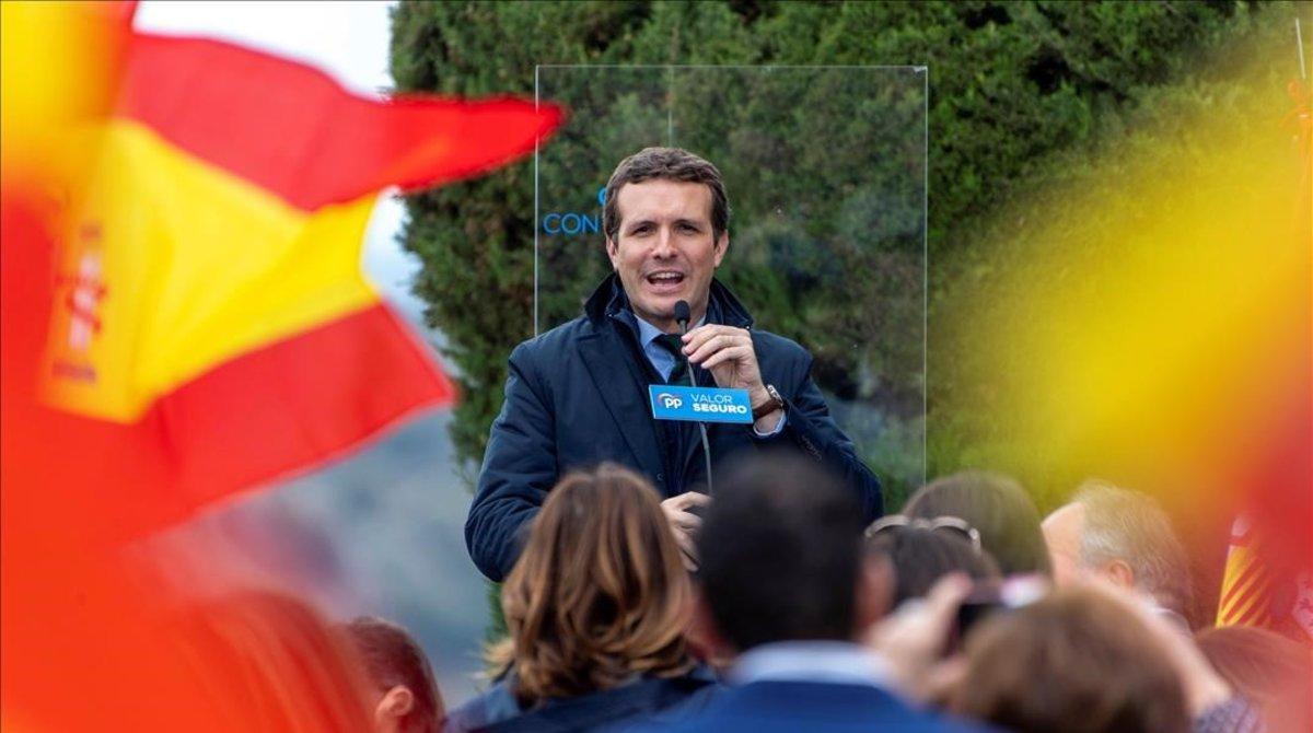 El líder del PP, Pablo Casado, en un acto público en Toledo.