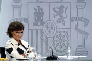 La vicepresidenta primera del Gobierno, Carmen Calvo, el pasado 15 de septiembre en la rueda de prensa posterior al Consejo de Ministros, en la Moncloa.