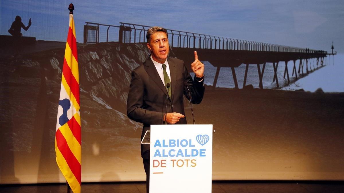 Xavier García Albiol, durante la conferencia de presentación de su candidatura a la alcaldía de Badalona.