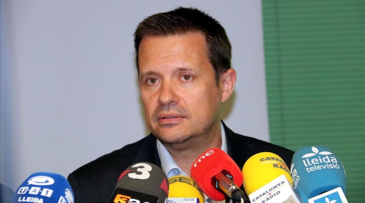 Ricard Calvo durante una comparecenciaen Lleida, el pasado abril.