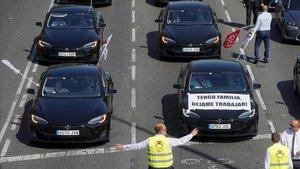 Manifestación de vehículos VTC el pasado septiembre en Madrid.