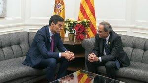 Pedro Sánchez y Quim Torra, el 20 de diciembre en el Palau de Pedralbes.