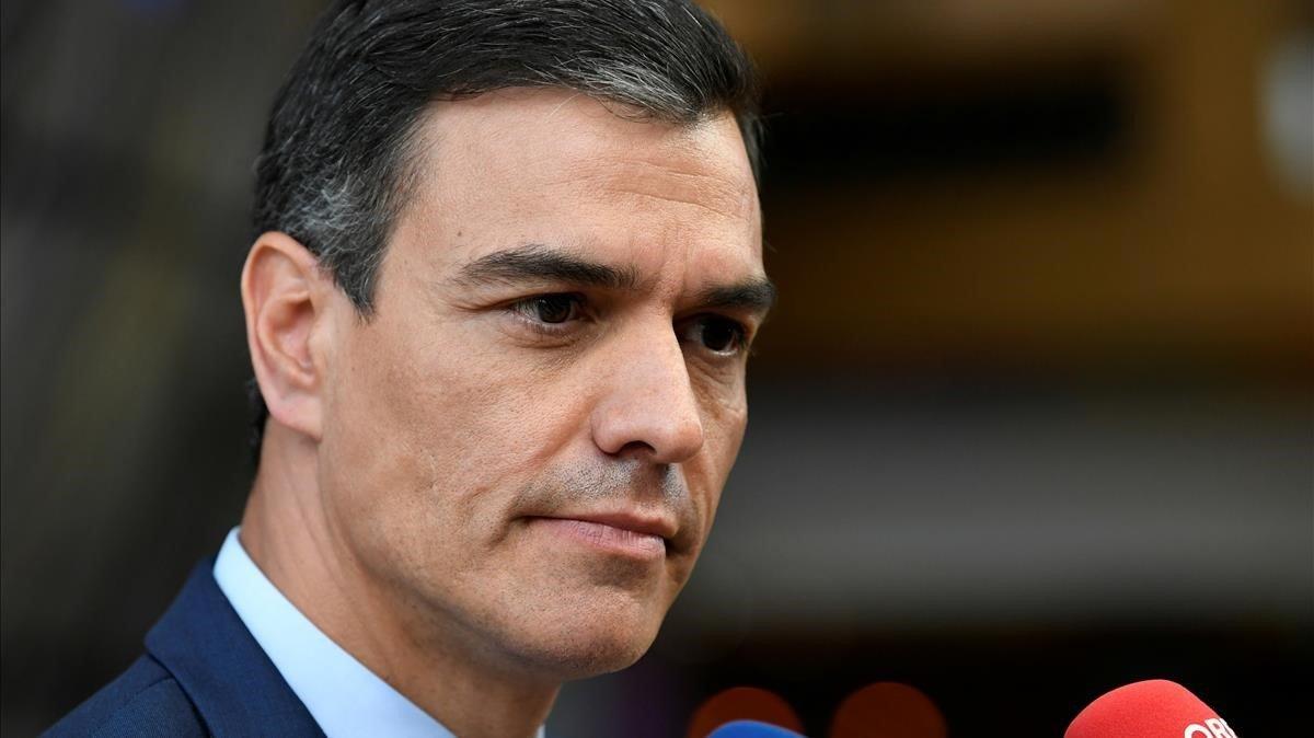 Pedro Sánchez, durante su participación en la última cumbre de la Unión Europea.