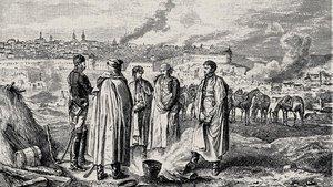 Oficiales franceses conversan durante la batalla de Smolensk, en Rusia, el 20 de agosto de 1812.