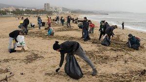 Varios voluntarios limpian las playas de Mataróde residuos, después del temporal 'Gloria'.