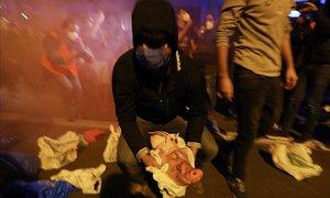 Miembros de los CDR lanzan cabezas de cerdo a los Mossos en la Delegación de Gobierno