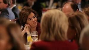 La vicepresidenta durante el desayuno informativo de Europa Press.