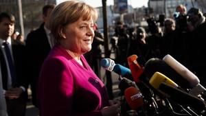 Angela Merkel, antes de iniciar la jornada de negociación