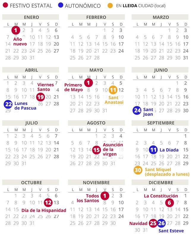 Calendario laboral de Lleida del 2019.