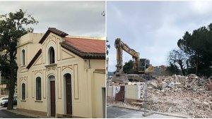 La capilla de la Clínica Sant Jordi, antes de ser demolida y los escombros que han quedado.
