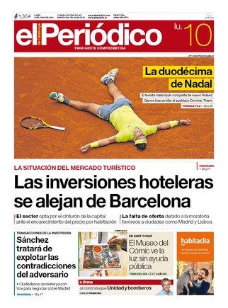 La portada d'EL PERIÓDICO del 10 de juny del 2019