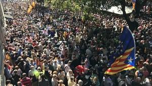 Concentración frente a la Conselleria de Economia, el 20 de septiembre del 2017.
