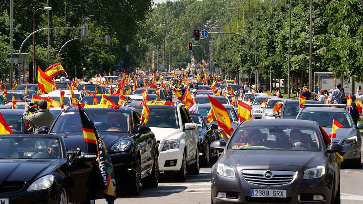 Concentración de VOX en Madrid contra la gestión del Gobierno.