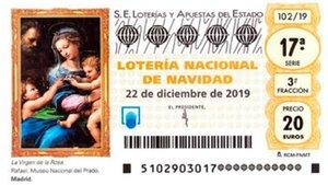 Imagen del décimo de la Lotería de Navidad 2019.